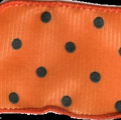 Celebrate It Ribbon 1.5 Inch Orange and Black Dot Grosgrain Wired Edge Ribbon