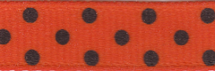 Celebrate It Ribbon 3/8 Inch Orange and Black Dot Grosgrain Ribbon