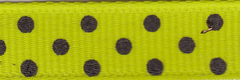 Celebrate It Ribbon 3/8 Inch Lime Green and Black Dot Grosgrain Ribbon