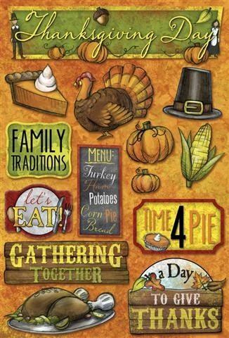 Karen Foster Time 4 Pie Cardstock Stickers (Thanksgiving Collection)
