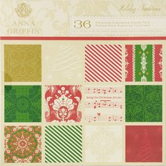 Anna Griffin 36 Designer Scrapbook Paper Pack (Holiday Traditions Collection)