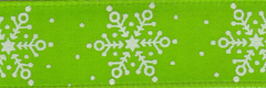 Celebrate It Ribbon 5/8 Inch Green & White Snowflake Satin Ribbon