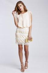 Sequin embellished fringe dress Nude