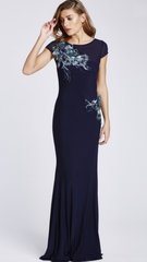 Blue Sequin Embroidered Maxi Dress
