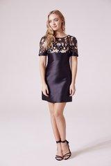 Floral Embellished A Line Dress in Black