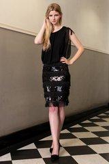 Sequin embellished fringe dress Black