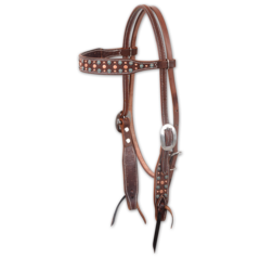 Turquoise & Copper Dots Headstall