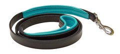 """1"""" x 5 foot BLACK Padded Leather Dog Leash in NINE Padding Colors"""