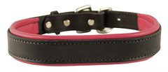 BLACK Padded Leather Dog Collar in NINE Padding Colors