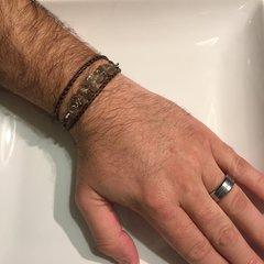 Men's, women's, unisex or couples braided leather Smoky Quartz wrap bracelet/necklace