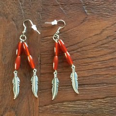 Carnelian dangle with feather charm boho earrings