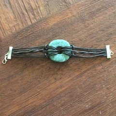 Light Serpentine circle stone, tri-band, twist boho bracelet.