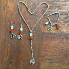 Sun, Moon and Earth set (earrings, necklace and bracelet)
