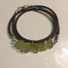 Men's, women's, unisex or couples braided leather Olive Serpentine wrap bracelet/necklace