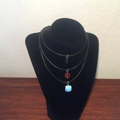 Layered Apatite, Carnelian and Opalite boho leather choker