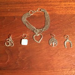 Three chain stainless steel boho charm bracelet
