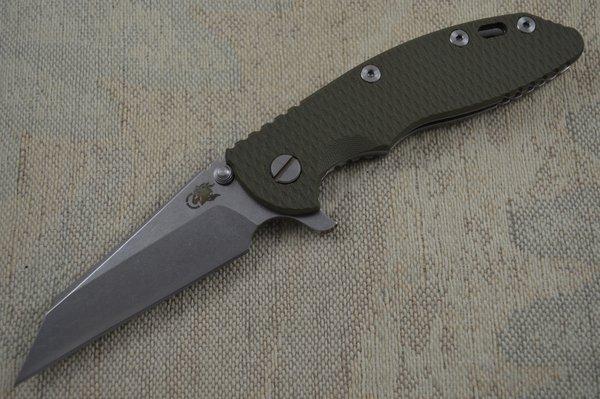 "Rick Hinderer XM-18 3.5"" Wharncliffe Flipper Folding Knife, OD Green (SOLD)"