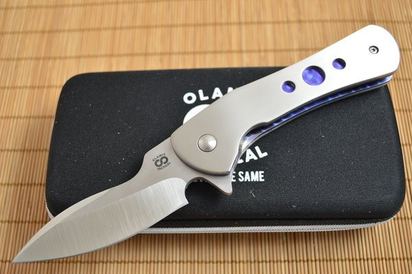 "Olamic Cutlery ""Gambit"" Serge Panchenko Design, Liner-Lock Flipper, Full Titanium, Anodized Blue Liners (SOLD)"
