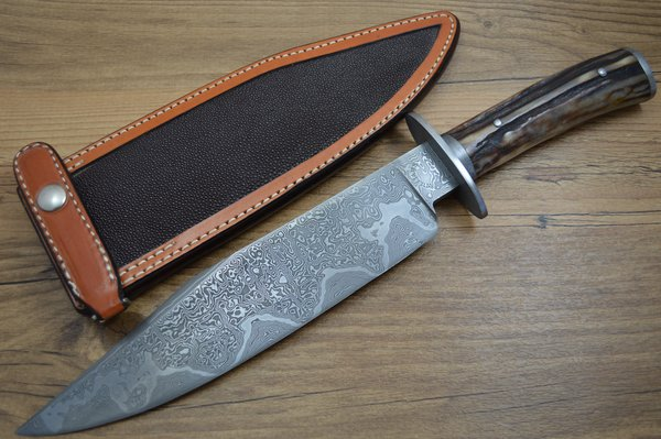 Mike Williams, M.S. Damascus Bowie, Stag Handle, Kenny Rowe Sheath (SOLD)