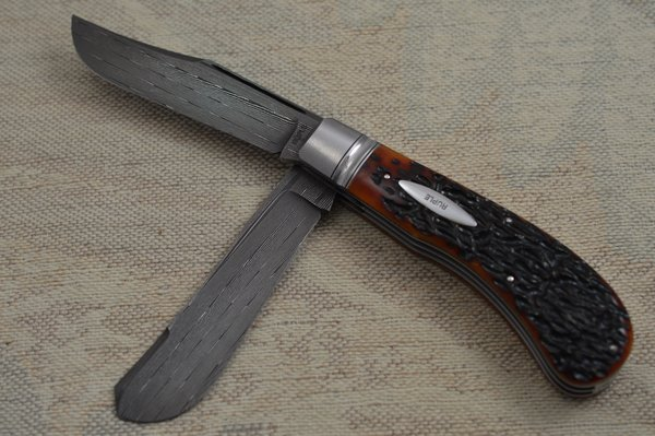 Bill Ruple Two-Blade Saddlehorn Trapper, Rob Thomas Damascus, File-Worked Liners