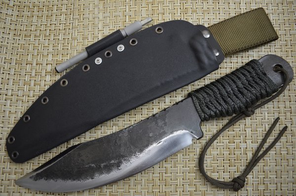 G.H.K. Large Brut De Forge Camp Knife, Scandi Grind, Kydex Sheath