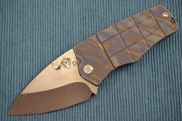 Medford Knife and Tool SHERMAN, D2 Tumbled Blade, Flamed Titanium Pineapple Grenade Handle