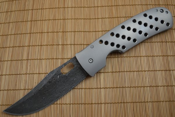 Tom Mayo 25th Anniversary Damascus Blade, Frame-Lock Folder