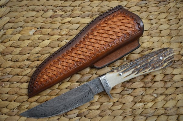 Dickie Robinson, M.S. Damascus Hunter Stag Handle, Rowe Leather Sheath (SOLD)