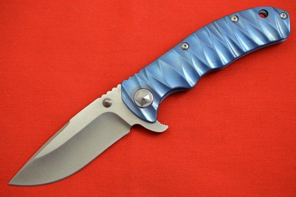 Tim Britton TANGO Flipper, Blue Anodized Titanium Frame, Stonewashed S30V