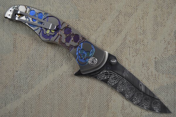 """Brian Tighe """"Tighe Coon"""" Flipper Engraved Skulls Titanium and Damasteel (SOLD)"""