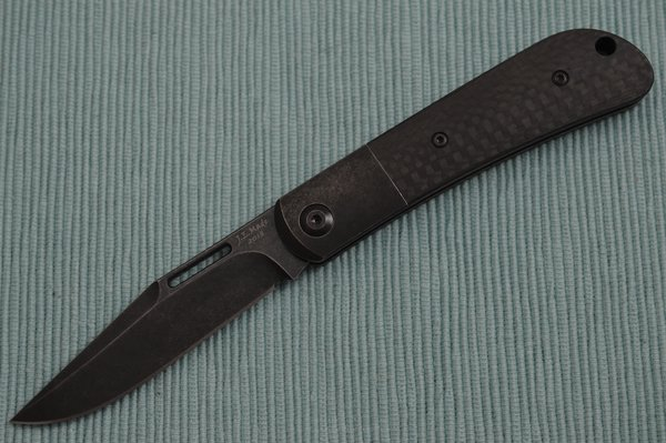 """J.E. Made """"Blacked-Out"""" Slip-Joint Folder, Carbon Fiber Scales, Titanium Bolster, S35VN (SOLD OUT)"""