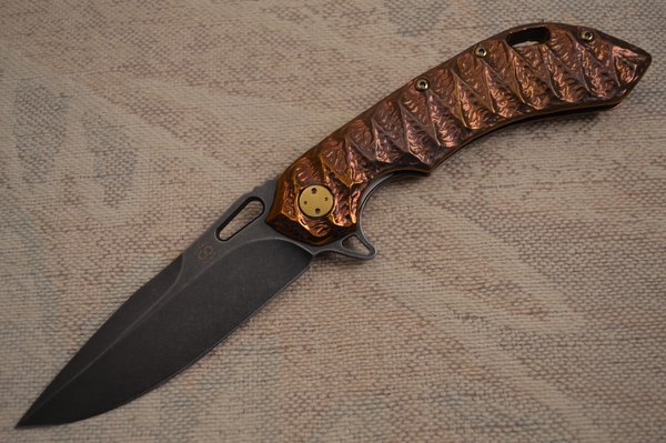 Olamic Cutlery Wayfarer 247 Sculpted Molten Titanium Hybrid, Anodized Handle, PVD Blade (SOLD)