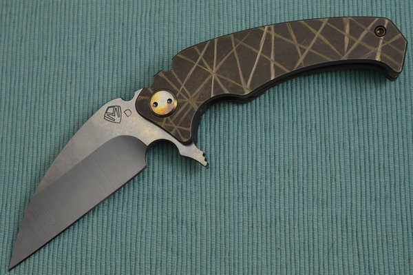 Medford Knife and Tool Flipper FUK, Tumbled D2 Blade, Bronze Anodized Sculpted Titanium Handle (SOLD)