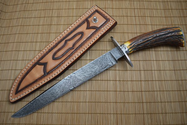 David Anders M.S. Large Damascus, Stag Bowie, Rowe Leather Sheath