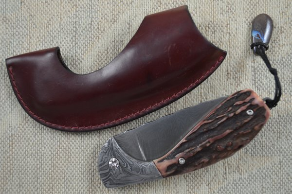 "Hans Weinmueller Damascus ""Buffalo Folder"", Tail Lock with Stag Scales (SOLD)"