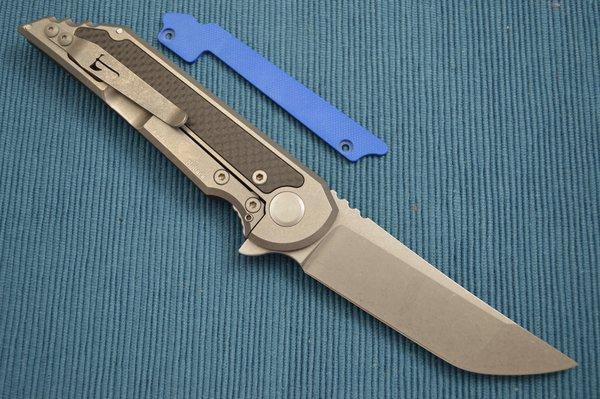 Jake Hoback Carbon Fiber Kwaiback UHEP Frame-Lock Flipper, Royal Blue G10 Inlay (SOLD)