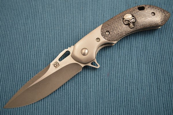 Olamic Cutlery Wayfarer Compact One-Off, Skull Inlay, Snake Pattern Filework (SOLD)