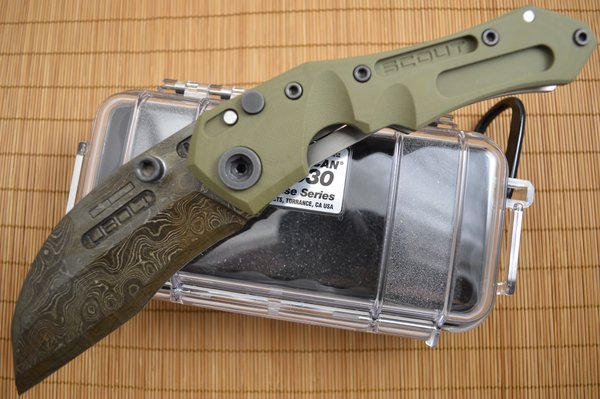 Dwaine Carrillo Alabama Damascus PROTOTYPE Button-Lock Scout M4, OD Green G10 (SOLD)