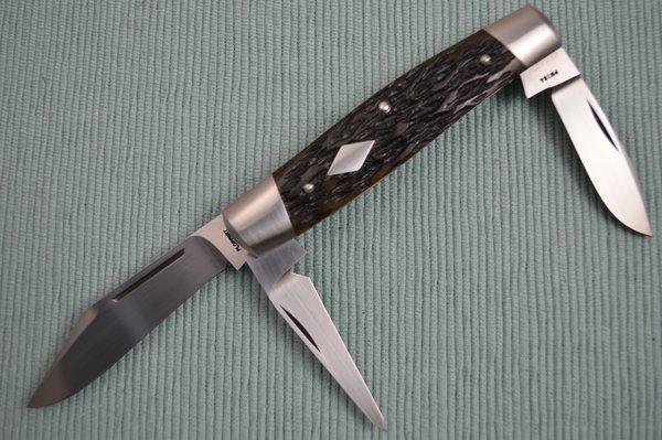 Tom Ploppert 3-Blade Diamond Edge Cattle Knife, Leather Punch