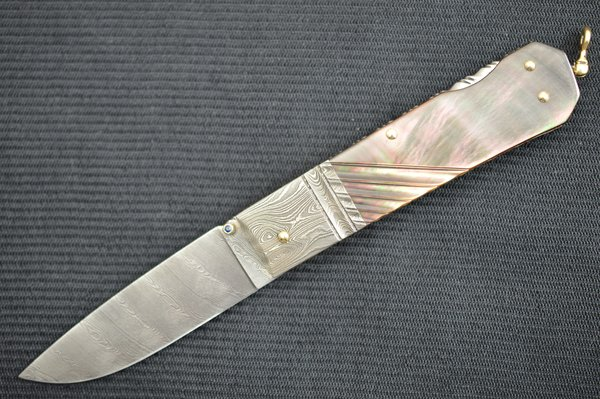 Barry Davis Sole Authorship Blacklip Pearl & Damascus Lock-Back, 14K Gold Bale & Toothpick