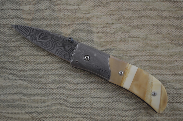 Kevin Hoffman Damascus and Mammoth Gentleman's Liner Lock Folder (SOLD)