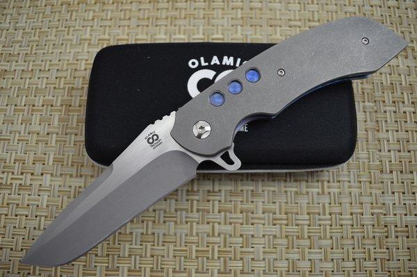 "Olamic Cutlery Custom ""Wayfarer Tanto"" Liner-Lock Flipper, Full Titanium, Anodized Blue Liners"
