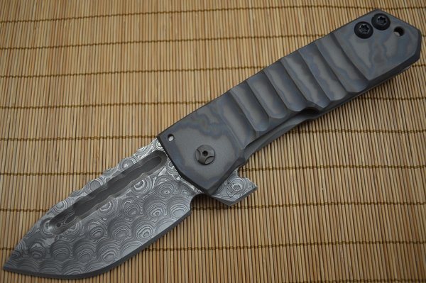 Crusader Forge FIFP Custom AEB-L San Mai Typhoon Birdseye Damascus, Phantom Finish (SOLD)