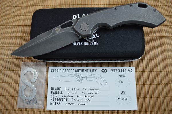 Olamic Cutlery Wayfarer 247 Stealth Flat, All Titanium, Stonewashed Elmax Blade (SOLD)