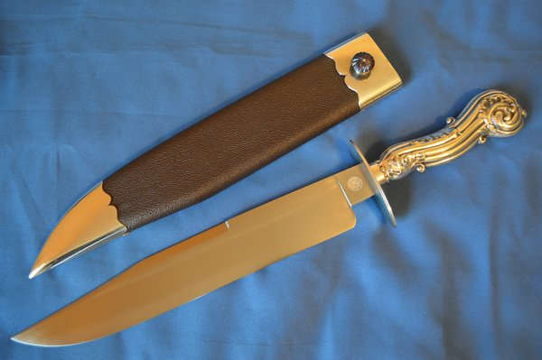 """James L. Jackson, M.S. Sheffield Type Bowie Knife, Silver """"Tiffany"""" Handle and Sheath"""