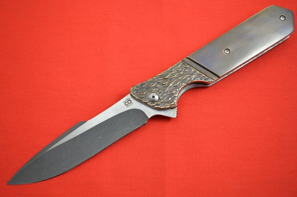 Olamic Cutlery Rainmaker, Bronze Scales with Molten Faux Bolster and Pocket Clip (SOLD)