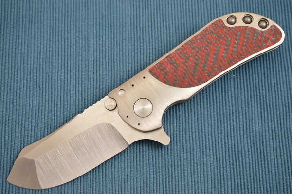 Direware M8 Flipper, Titanium Frame, Red / Black Carbon Fiber Inlays, S110V Blade (SOLD)