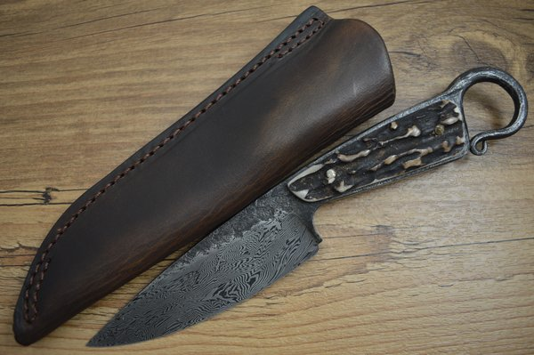 David Lisch, M.S. Flying Dragons Damascus Hunter, Sambar Stag, Rowe Leather Sheath (SOLD)