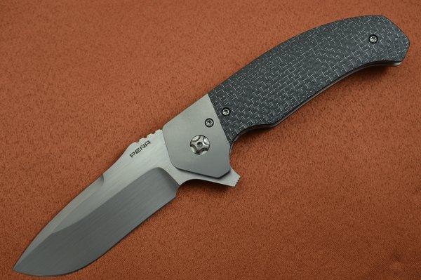 Enrique Peña Custom DIESEL Liner-Lock Flipper, Lightning Strike Carbon Fiber (SOLD)