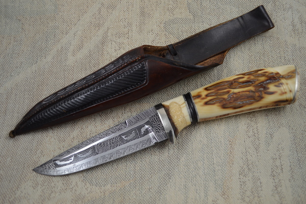 """Roger Bergh """"Fish"""" Pattern Damascus and Ivory Hunting Knife"""